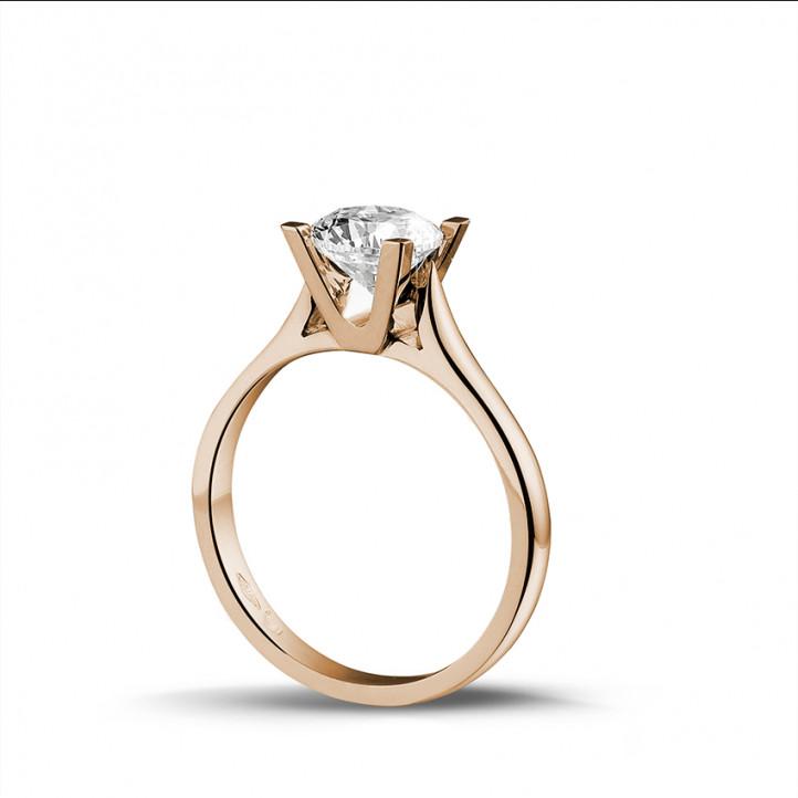 1.25 carats bague diamant solitaire en or rouge