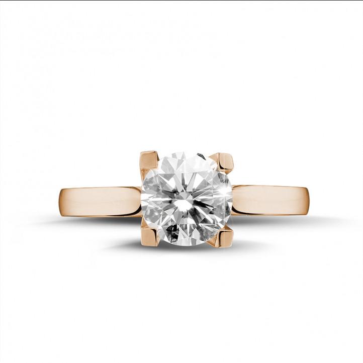 2.00 carats bague diamant solitaire en or rouge