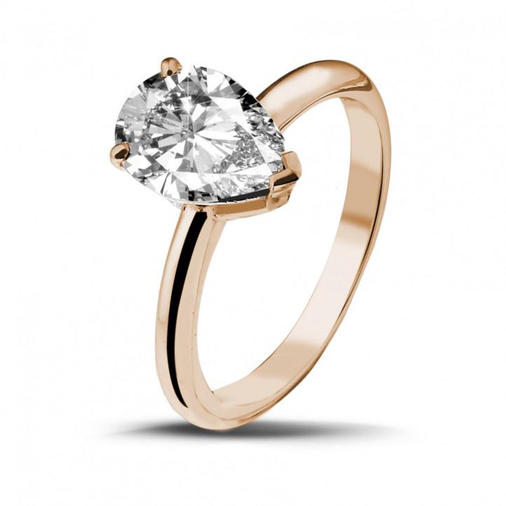 2.00 carat bague solitaire en or rouge avec diamant en forme de poire