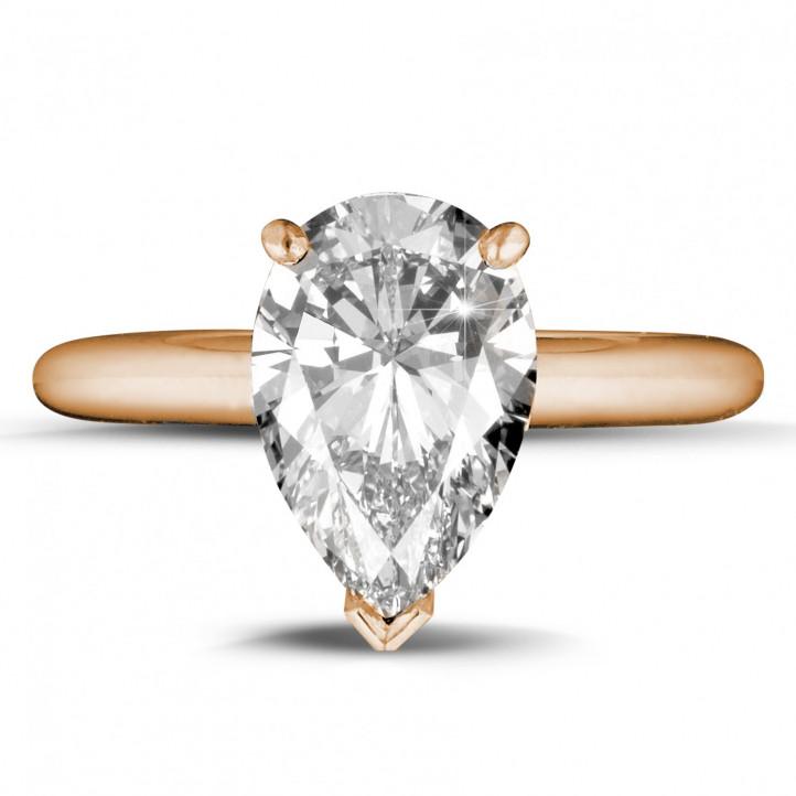 3.00 carat bague solitaire en or rouge avec diamant en forme de poire