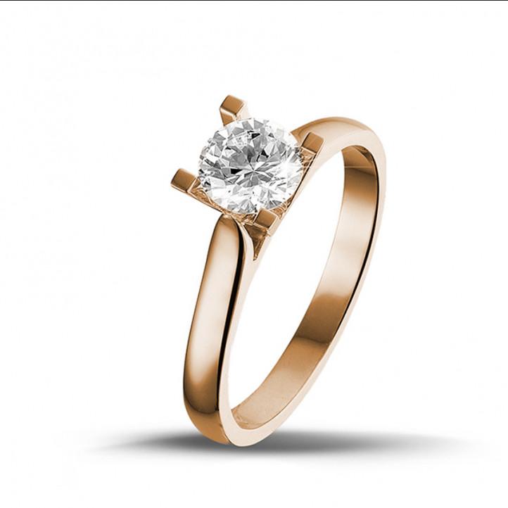 0.75 carat bague diamant solitaire en or rouge