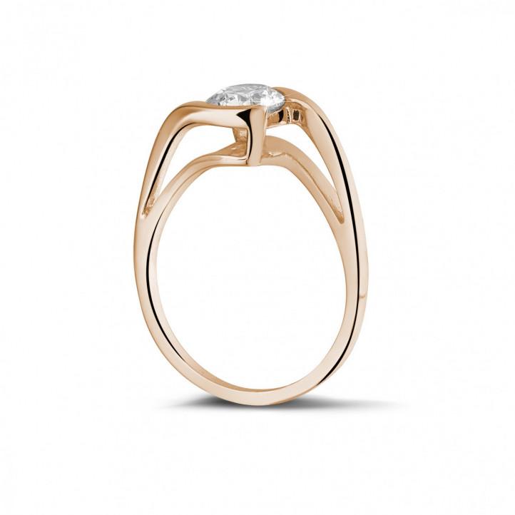 0.70 carats bague diamant solitaire en or rouge