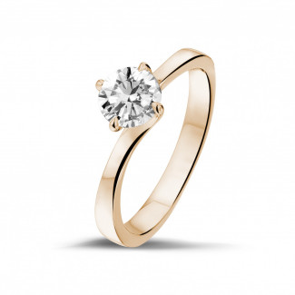 0.70 carats bague diamant solitaire en or rouge