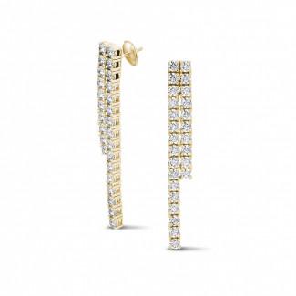 Boucles d'oreilles - 3.90,carat boucles d'oreilles rivière en or jaune avec diamants