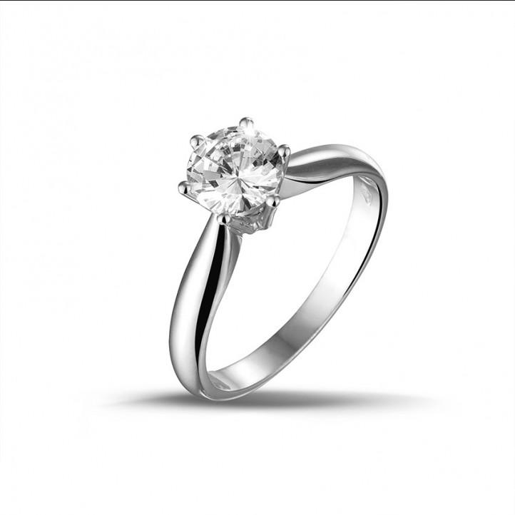0.90 carat bague solitaire diamant en or blanc