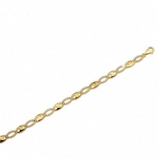 Bracelets - Chaîne de bracelet fine en or jaune avec diamants 0.88 carat