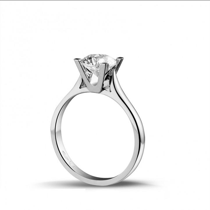 1.25 carat bague solitaire diamant en or blanc