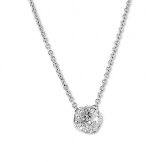 Colliers - 0.25 carat collier design en or blanc avec diamants