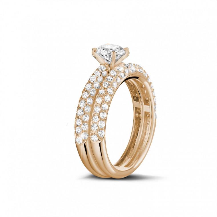 ensemble carats bague de fian ailles diamant et alliance avec petits diamants en or rouge. Black Bedroom Furniture Sets. Home Design Ideas