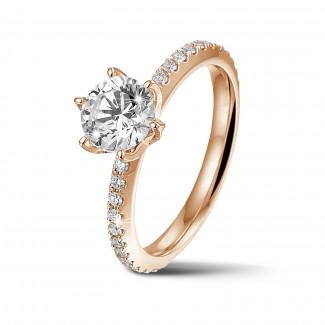 Fiançailles - BAUNAT Iconic 1.00 carat bague solitaire en or rouge avec diamants sur les côtés