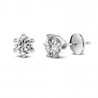 Clous oreille - BAUNAT Iconic boucles d'oreilles solitaires en or blanc avec diamants ronds de 1.00 Ct chacun