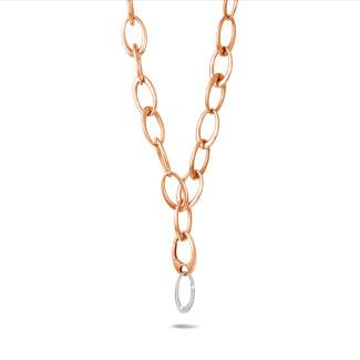 Colliers - Chaîne de collier classique en or rouge avec pendentif en diamant de 1,70 carat