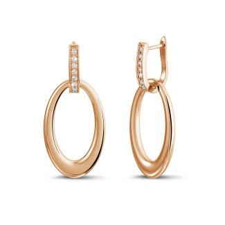 Boucles d'oreilles - Boucles d'oreilles classiques en or rouge avec diamants 0,20 carat