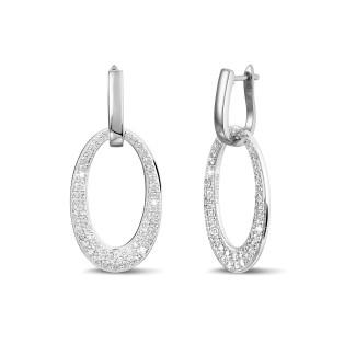Boucles d'oreilles - Boucles d'oreilles classiques en or blanc avec diamants 1,70 carat