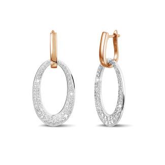 Boucles d'oreilles - Boucles d'oreilles classiques en or rouge avec diamants 1,70 carat