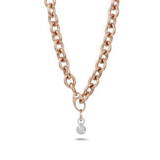 Colliers - Chaîne de collier audacieuse en or rouge avec pendentif en diamant de 1,44 carat