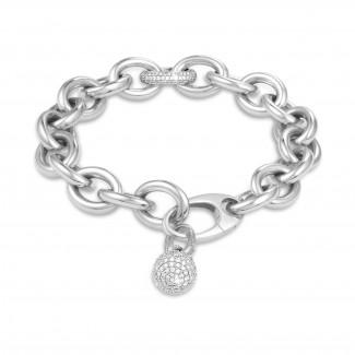 Bracelets - Chaîne de bracelet audacieuse en or blanc avec diamants 0,34 carat et pendentif en diamant de 1,44 carat