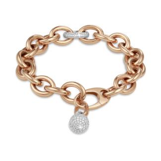 Bracelets - Chaîne de bracelet audacieuse en or rouge avec diamants 0,34 carat et pendentif en diamant de 1,44 carat