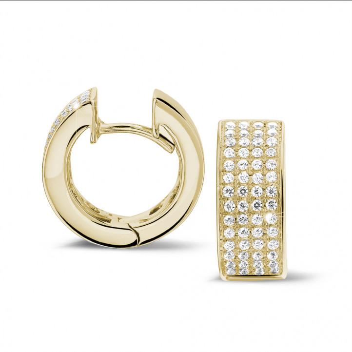 0.75 carat créoles (boucles d'oreilles) en or jaune et diamants