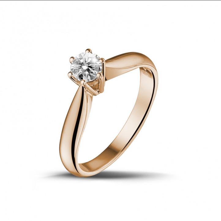 0.30 carat bague diamant solitaire en or rouge