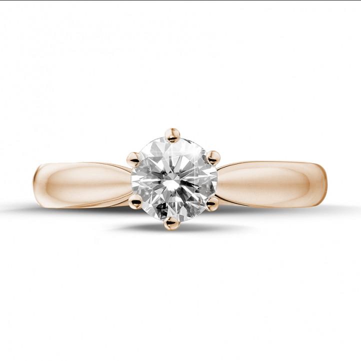 0.75 carats bague diamant solitaire en or rouge