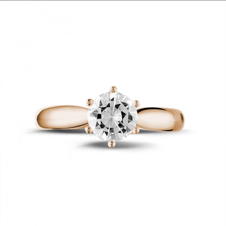 0.90 carats bague diamant solitaire en or rouge
