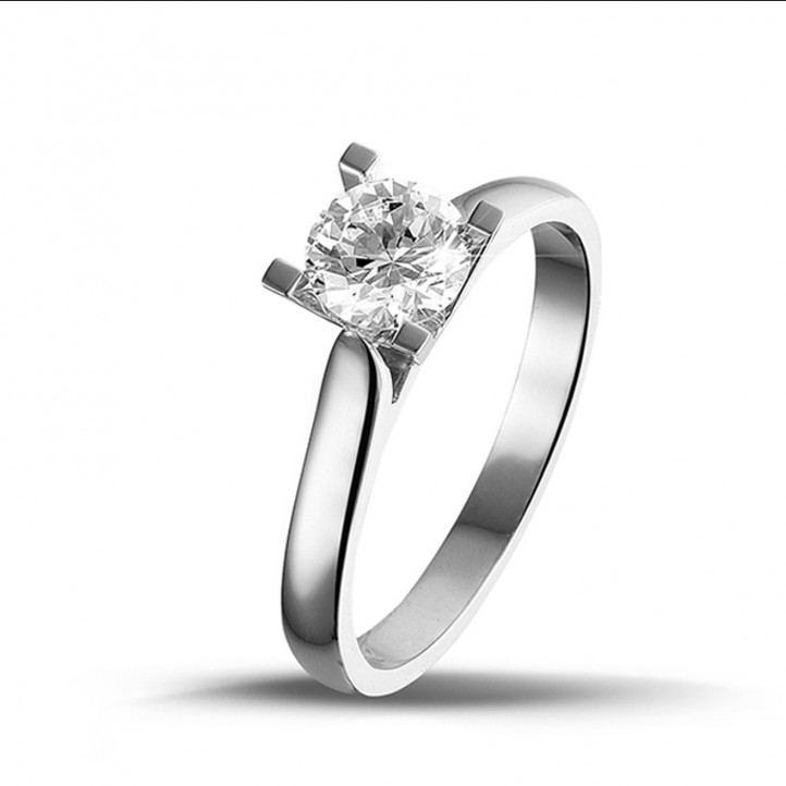 0.70 carat bague solitaire diamant en or blanc