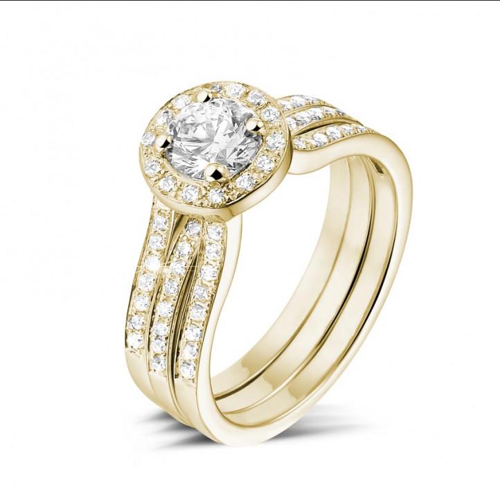 0.70 carats bague solitaire diamant en or jaune avec des diamants sur les côtés