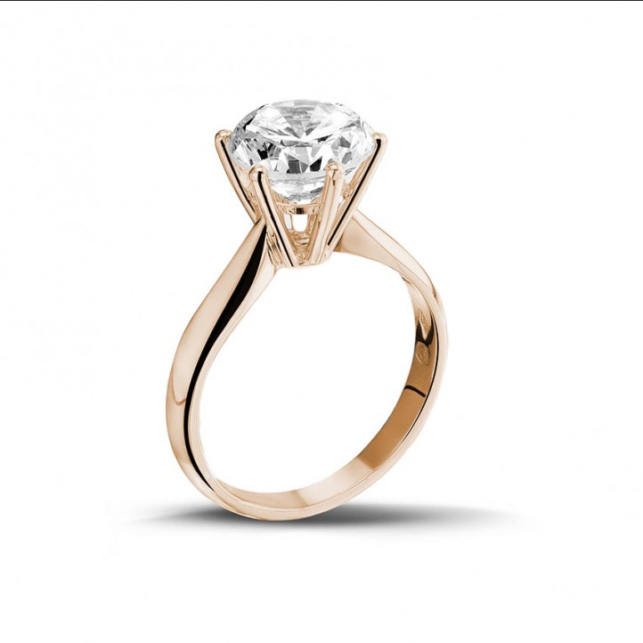 3.00 carat bague diamant solitaire en or rouge