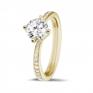 Bagues de Fiançailles Diamant Or Jaune - 1.00 carats bague diamant en or jaune avec diamants sur les côtés
