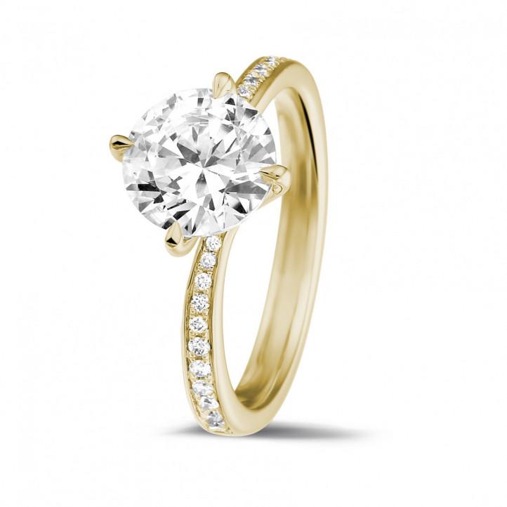 2.00 carats bague diamant en or jaune avec diamants sur les côtés