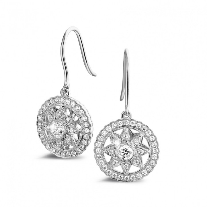 0.50 carat boucles d'oreilles en or blanc et diamants