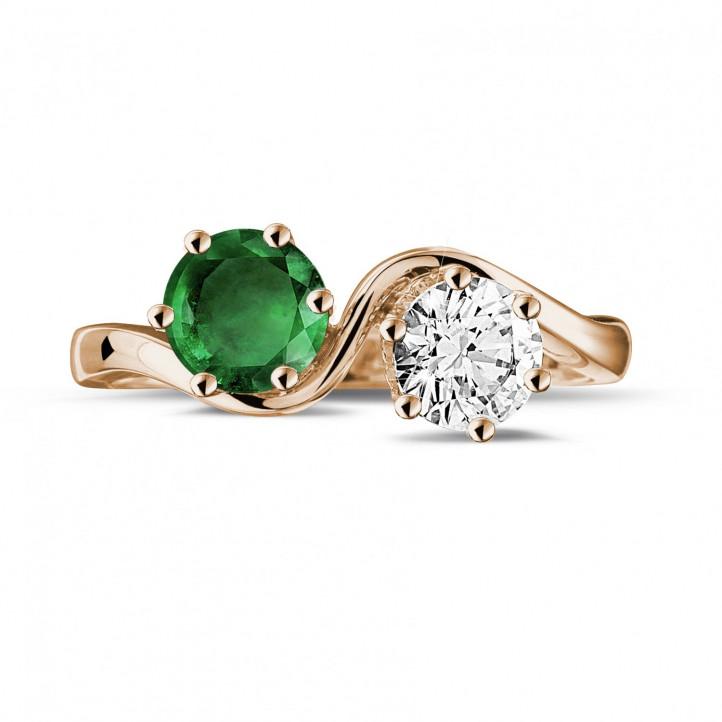 Bague Toi et Moi en or rouge avec diamant et émeraude rond