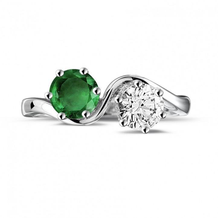 Bague Toi et Moi en platine avec diamant et émeraude rond