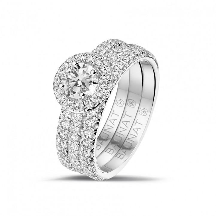 0.50 carats bague solitaire de type auréole en platine avec diamants ronds