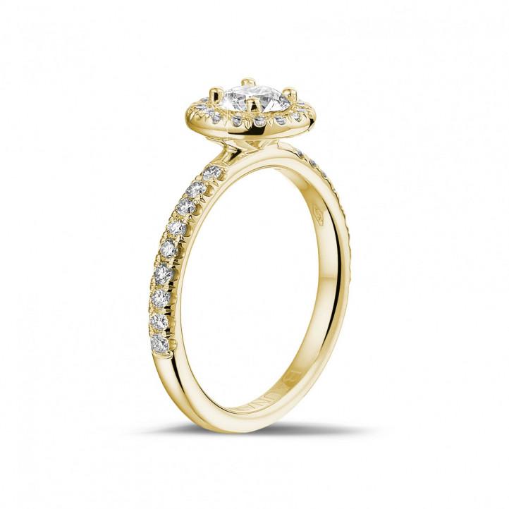 0.50 carats bague solitaire de type auréole en or jaune avec diamants ronds
