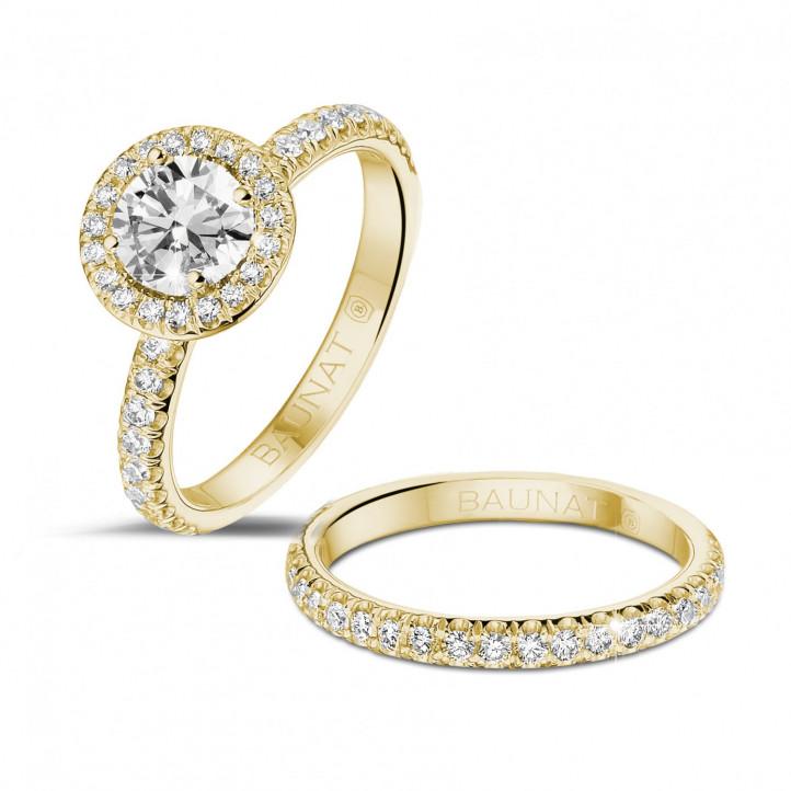 0.70 carats bague solitaire de type auréole en or jaune avec diamants ronds