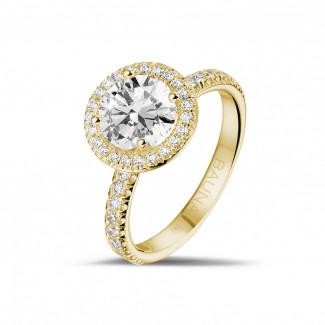 - 1.50 carats bague solitaire de type auréole en or jaune avec diamants ronds