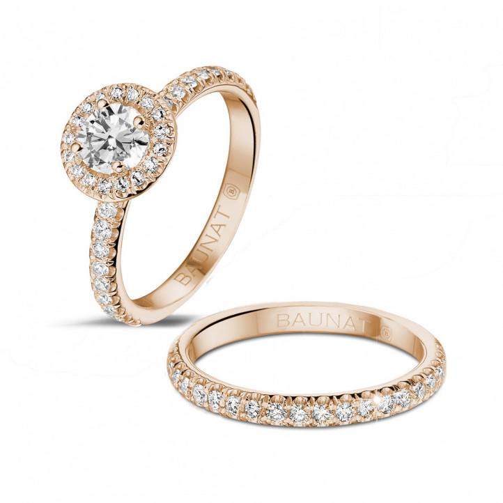 0.50 carats bague solitaire de type auréole en or rouge avec diamants ronds