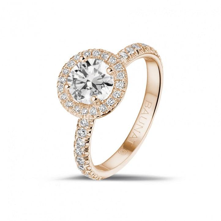 1.00 carats bague solitaire de type auréole en or rouge avec diamants ronds