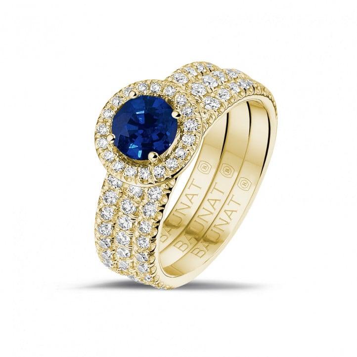 Bague solitaire de type auréole en or jaune avec saphir rond et petits diamants