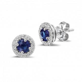 Bijoux avec rubis, saphir et émeraude - Boucles d'oreilles auréoles en platine avec diamants ronds et saphir