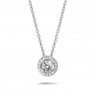 Pendentifs en diamants - 0.50 carat collier auréole en or blanc avec diamants