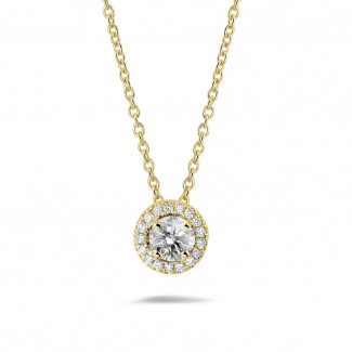 Colliers - 0.50 carat collier auréole en or jaune avec diamants