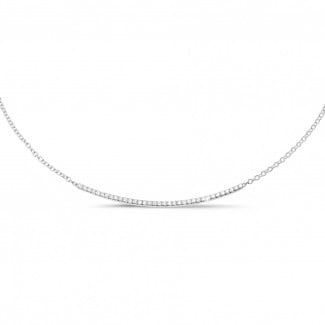 Colliers Or Blanc - 0.30 carat collier fin en or blanc et diamants