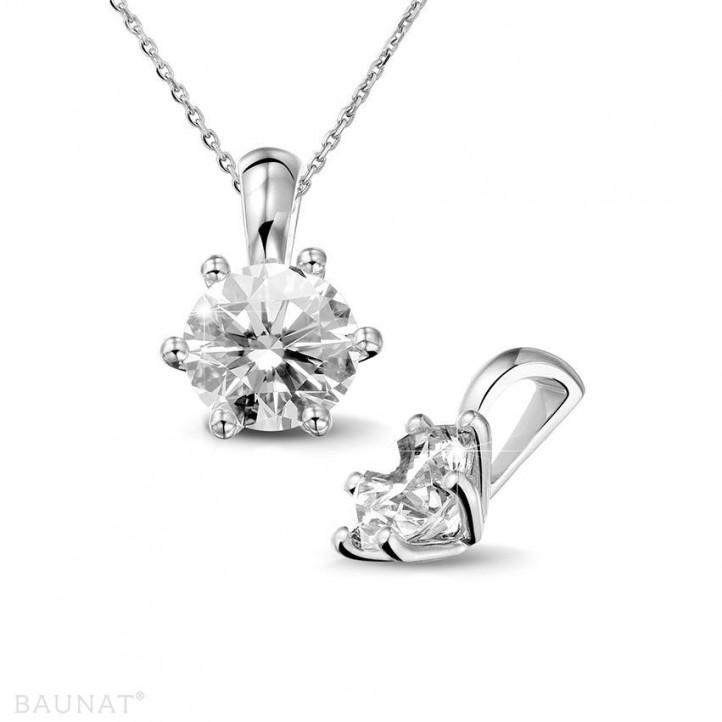 1.50 carat pendentif solitaire en or blanc avec diamant rond