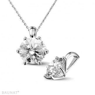 2.50 carat pendentif solitaire en or blanc avec diamant rond