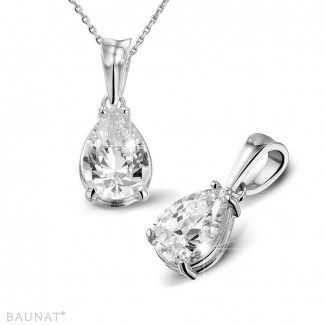 2.50 carat pendentif solitaire en or blanc avec diamant en forme de poire