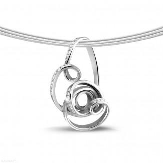Platine - 0.80 carat pendentif design en platine et diamants
