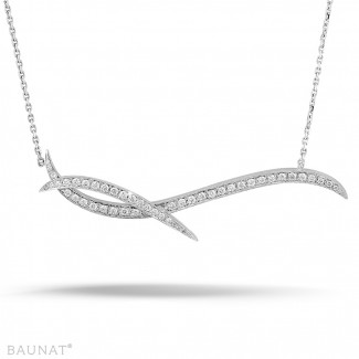 Platine - 1.06 carat collier design en platine avec diamants